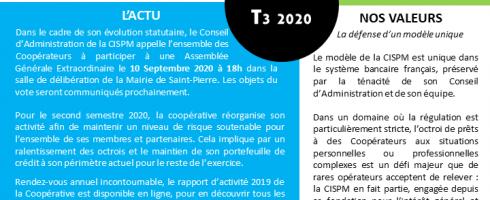CISPM la Lettre : T3 2020